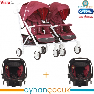 Casual Vista Twin Travel Sistem İkiz Baston Bebek Arabası